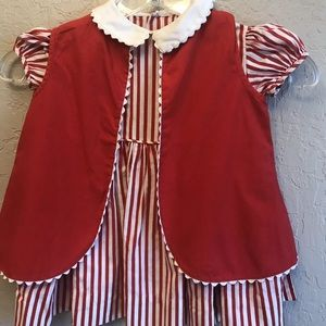 Vintage toddler girl dress and vest with dinosaur